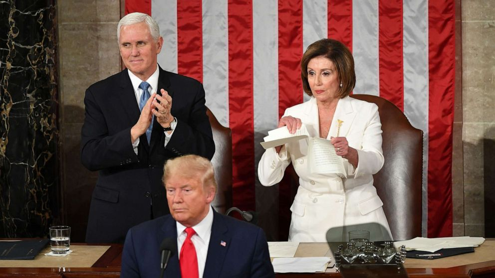 Nancy Pelosi rips up copy of State of the Union speech from Trump